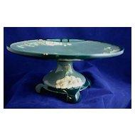 Fine Art Nouveau Czechoslovakian Majolica Cake Stand or Pedestal Taza