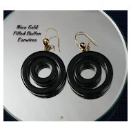BOLD Black ART DECO Modernist Double Hoop Earrings