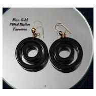 BOLD Black ART DECO Modernist Double Hoop Earrings