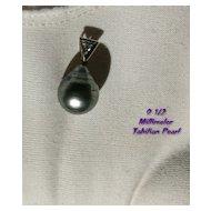 Designer TAHITIAN Black Gray Pearl Pendant with Diamond in 18K Gold