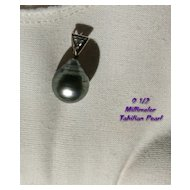 Designer TAHITIAN Black Gray Pearl Pendant with Diamond in 18K Gold