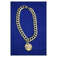 Vintage Heavy Gold Filled Curb Link Bracelet with Black Hills Gold Charm