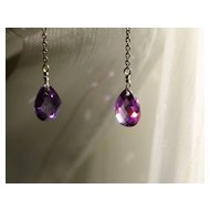 Breathtaking Amethyst Briolette Drop Earrings in Sterling