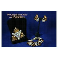 Sparkling Art Deco JULIANA  Rhinestone Suite with Brooch, Earrings and Bracelet