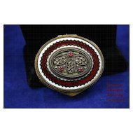 Antique French Garnet Jeweled and Enameled Chatalaine Compact