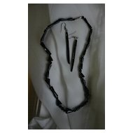 Rare Modernist BLACK CORAL Carved Necklace and Earrings
