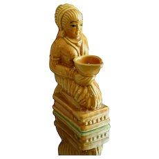 Unusual Art Deco Era Incense Burner in Porcelain of Kneeling Goddess