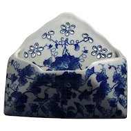 Beautiful Vintage Delft Style Blue Porcelain Letter Holder Wallpocket