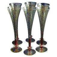 Contemporary Art Glass Cranberry Gilt Champagne Flutes