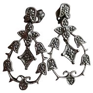 Belle Epoque Edwardian Style Diamond and 14K White Gold Pendant Earrings