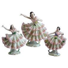 Precious Set of Three DRESDEN Porcelain Ballerinas