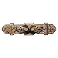 Antique Victorian Ornate Gilt Bar Pin Brooch w/ Enamel - c1880