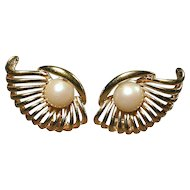 Vintage NINA RICCI Goldtone Faux Pearl ~ Winged ~ Clipback Earrings