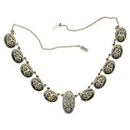Vintage Spanish DAMASCENE Etched Necklace - Great Design