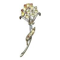 Vintage CORO Rhinestone Flower Pin