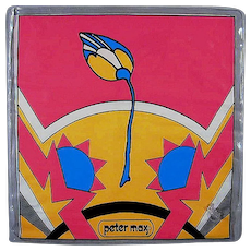 Vintage Original 1968 Peter Max TULIP Vinyl Blow-Up Pillow Pop Art