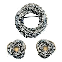 Vintage DANECRAFT Sterling Silver Pin & Earrings Set - Entwined Circles