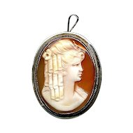 Silver Carved Shell CAMEO Pin Brooch Pendant - Beauty With Curls
