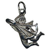 Vintage Sterling Silver Charm - CUPID Angel Shooting His Arrow