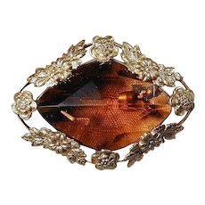 Antique Victorian Pin Brooch -  Huge Amber Glass Stone in Gilt Floral Frame