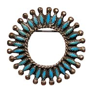 Vintage ZUNI Indian Petit Point Turquoise Sterling Silver Circle Pin