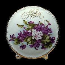Vintage 1950s MOTHER Porcelain Vase w/ Violets
