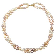 Two Strand Oval Freshwater Cultured Pearl Necklace 14k Gold Clasp
