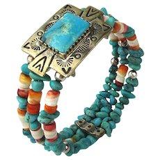 Vintage Relios Southwest Sterling Silver Turquoise Bracelet