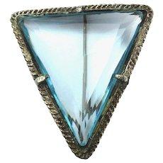 Art Deco Aquamarine Crystal Glass Triangle Pin