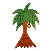 Old Carved Wood Palm Tree Pin w/ One Coconut