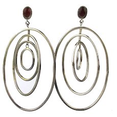 Vintage Bali Sterling Silver Hoop Earrings Four in One