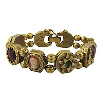 Vintage Jeweled Gilded Slide Bracelet