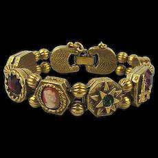 Vintage Jeweled Gilded Slide Bracelet