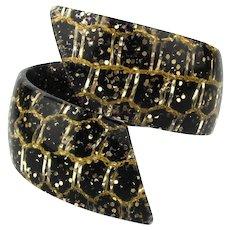 Lucite Confetti Clamper Bracelet Wraparound Black n Gold 1950s