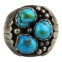 Keith James Navajo Sterling Turquoise Ring Size 10