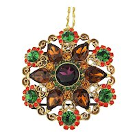 Huge Vintage Rhinestone Buckle Necklace Signed Kandell Marcus