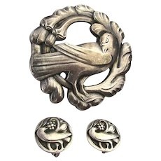 Sterling Silver Danish Design Dove Pin Brooch w/ Clip Earrings Set Art Deco Era