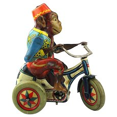 1940s U.S. Zone Germany Tin Litho Windup Monkey Tricycle Works