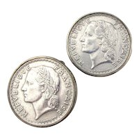 Sterling Silver Republique Francaise Coin Cufflinks
