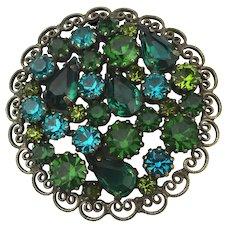 Filigree WEISS Green Teal Crystal Rhinestone Pin Brooch