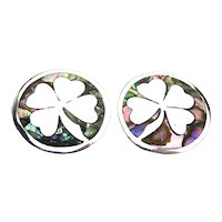 Vintage Taxco 925 Sterling Silver Earrings Lucky Shamrock