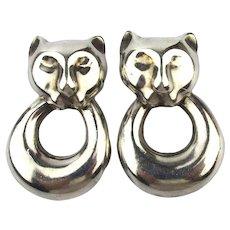 Vintage Italian Sterling Silver Cat Doorknocker Earrings Pierced