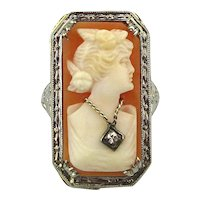 14k White Gold Carved Shell Cameo Lady Ring Habille Diamond