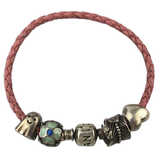 Pandora Bracelet 4 Sterling Silver Charms on Braided Leather