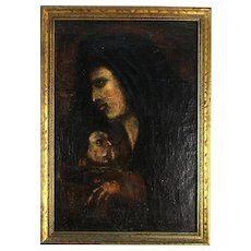 19th Century Oil on Canvas Painting Holy Mother and Child