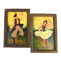 Pair Vintage Oil Paintings - European Folk Dancers Colorful Costumes