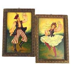 Pair Vintage Oil Paintings - European Folk Dancers Colorful Costumes