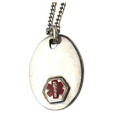 Vintage Solid Sterling Silver Enamel Medical Alert Pendant on Long Italy Chain