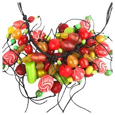 Vintage Teresa Goodall Multi Bead Multi Color Necklace