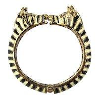 Vintage Enamel Stripe Kissy Face ZEBRAS Clamper Bracelet